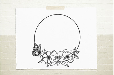 Wreath with flowers and butterfly svg cut file