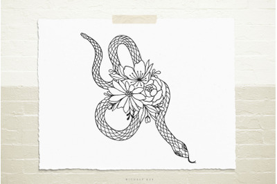Snake with flowers  svg cut file