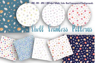 Watercolor Seashell Seamless Patterns Set