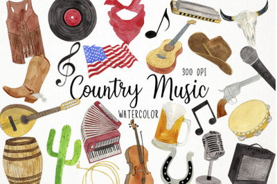 Watercolor Country Music Clipart, Country Music Festival Clipart