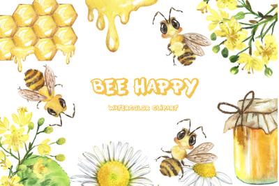 Bee watercolor clipart. Linden flowers, chamomile, honey jar, summer