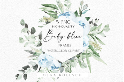Baby blue flowers clipart, Dusty blue boho roses frames png