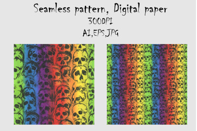 Skull and rainbow seamless pattern.Hand draw abstract.Swatch
