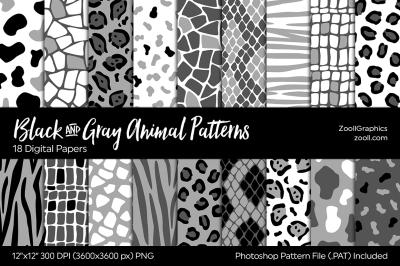 Black And Grey Animal Digital Papers