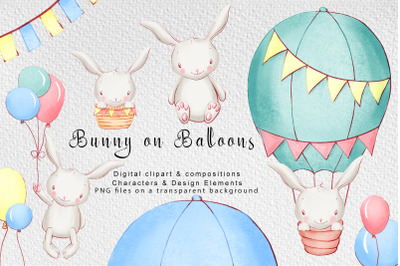 Bunny on balloons digital clipart