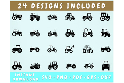 24 Tractor SVG Bundle, Tractor PNG, Tractor Cut Files