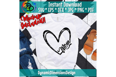 Mom Heart, Instant Digital Download, dxf, eps, png, jpg files included