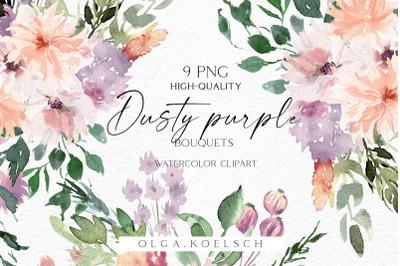 Dusty purple boho bouquets clipart, Watercolor peach and purple floral