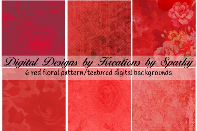 6 Red Floral Pattern/Textured Digital Backgrounds