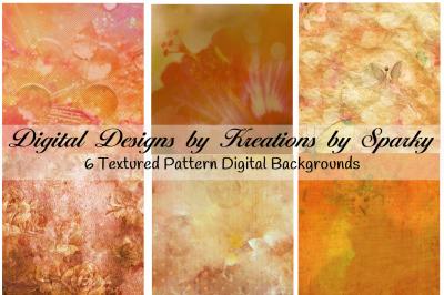 6 Orange Grunge Texture Digital Backgrounds