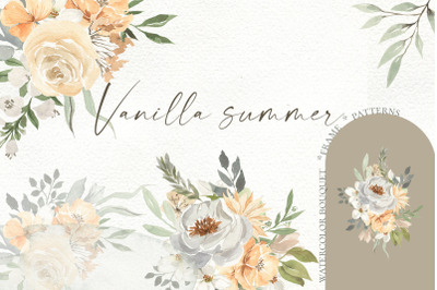 Vanilla summer. Watercolor bouquets, frames, patterns