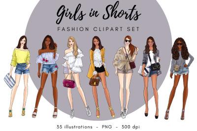 Girls in Shorts Fashion Clipart Set