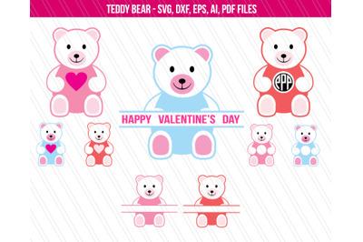 Teddy bear SVG, valentine's day svg, teddy bear clipart, dxf