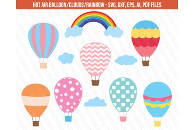 Hot air balloon SVG, Rainbow svg, Hot air balloon clip art