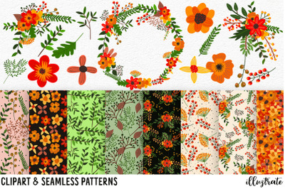 Flower Clipart and Seamless Patterns | Red Flower Wreath