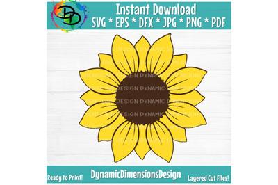 Sunflower SVG, Sunflower SVG, Sunflower cut file, Monogram Svg, Half Sunflower Svg, Sunflower Svg Files, Cut file Cricut, Silhouette