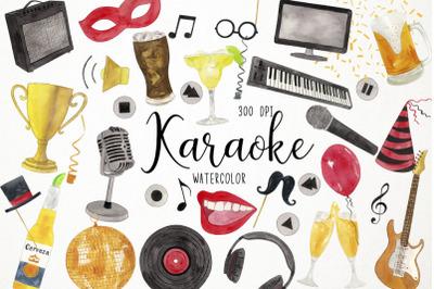 Watercolor Karaoke Clipart, Sing Clipart, Karaoke Graphics
