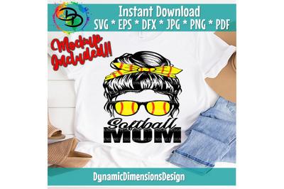 Softball Mom, Softball svg, Messy Bun, Leopard, Softball Mom svg, digi