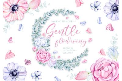 Watercolor Gentle Floral Clipart