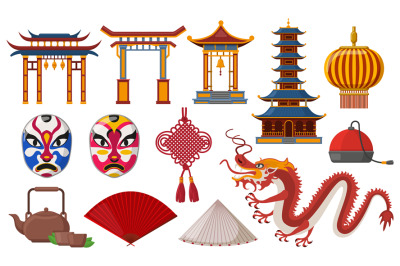 Chinese traditional elements. Asian culture traditional symbols, pagod