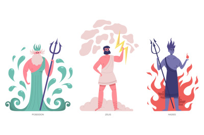 Ancient greek gods. Olympic greek main powerful gods, zeus, poseidon a