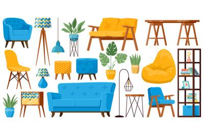 Living room furniture. Cartoon cozy home furniture items, sofa, armcha