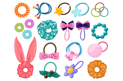 Hair rubber bands. Cartoon scrunchies, girlish beauty fashion hair acc