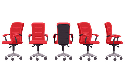 Cartoon office chair. Computer chair in different angles, ergonomic of
