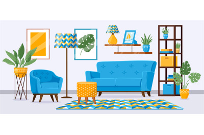 Cartoon living room interior. Apartment living room with modern furnit