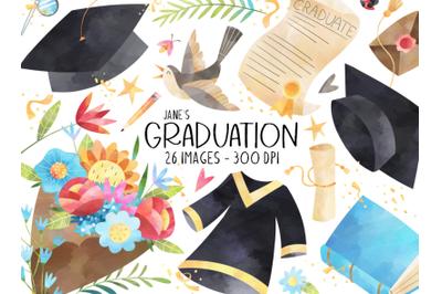 Watercolor Graduation Clipart