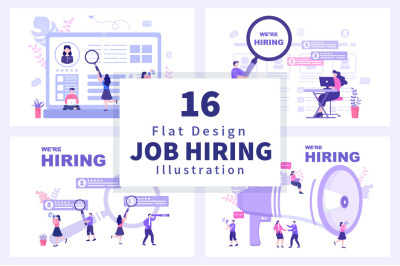 16 Job Hiring And Online Recruitment Illustration