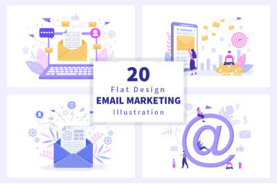 20 Email Marketing Vector Illustration