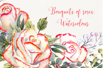 Bouquets of roses. Watercolour