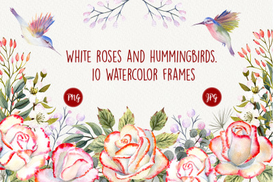 Roses and Hummingbirds. Watercolor frames