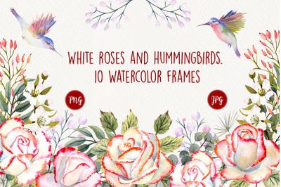 Roses and Hummingbirds. Watercolor frames