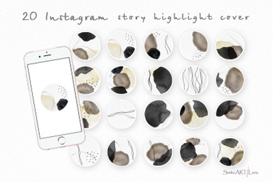 Instagram Story Highlight covers Watercolor Abstract Spots