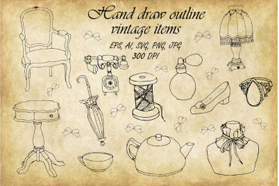 Bundle of Outline Vintage,retro items.Beautiful antique. SVG