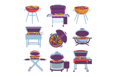 Cartoon barbeque grills. Bbq oven with fry food meat, vegetables, saus