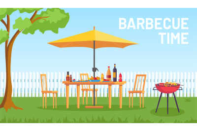 Bbq in garden. Cartoon summer outdoor backyard barbecue party with fur