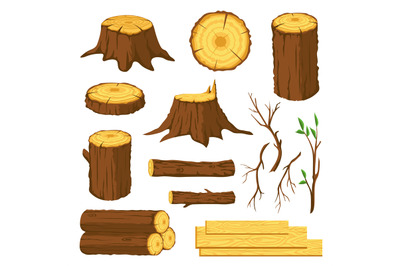 Wood logs. Firewood, tree stumps with rings, trunks, branches and twig