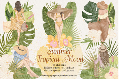 Summer Fashion Girls Clipart Tropical Flowers Leaves
