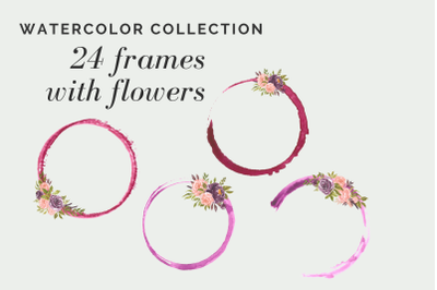 Watercolor circles for logo, Frams with flowers, Red circles for logo,