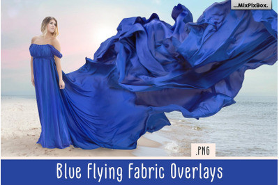 Blue Flying Fabric Overlays