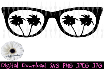 Sunglasses with palm trees. SVG, JPG, JPEG, PNG
