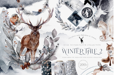 Huge Winter collection Christmas Festive Watercolor PNG JPEG