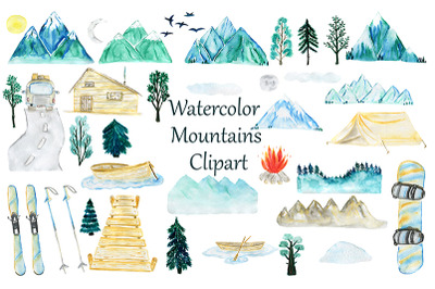 Watercolor Mountains set. Camping. Snowboard, Skiing Sports.