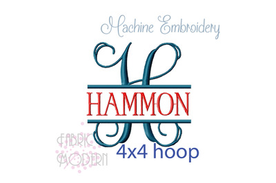 Vine Split Monogram Embroidery Font Extra Fancy fits in 4x4 hoop #867