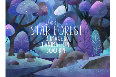 Watercolor Star Forest Clipart