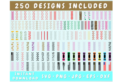 250 Glitter Pen Wrap SVG Bundle, Epoxy Pen Wraps
