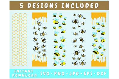 5 Bee Pen Wrap SVG, Glitter Pen Wrap Bundle, Honey Pen Wraps